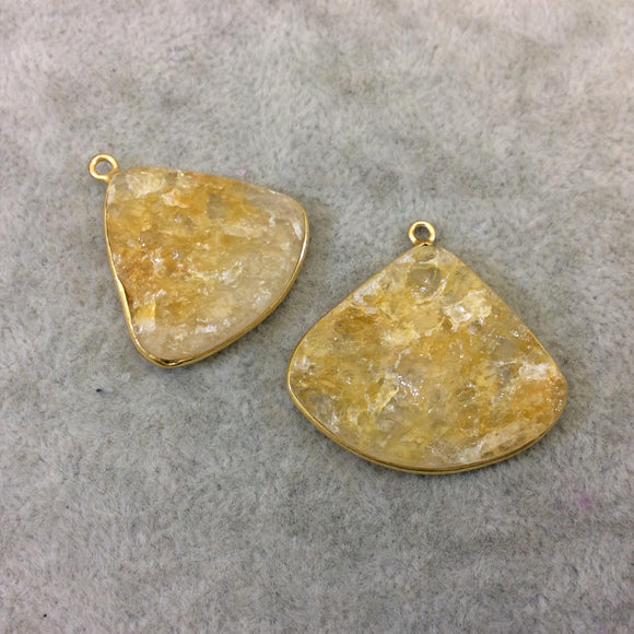 Jeweler's Lot Gold Plated Natural Raw Citrine - Two Flat Back Free Form Copper Bezel Pendants
