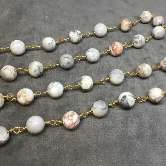 Gold Plated Copper Rosary Chain with 8mm Smooth Round Shaped White Buffalo Turquoise Beads - Sold by the Foot! - Natural Beaded Chain