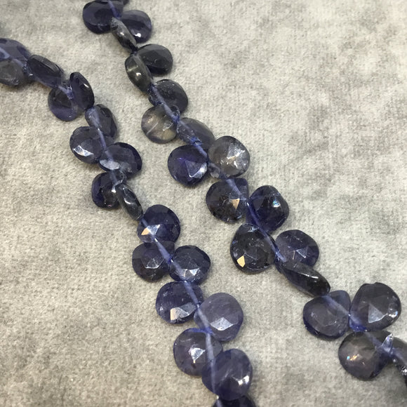 7-8mm x 7-8mm Faceted Heart/Teardrop Shaped Dark Iolite Beads - 9