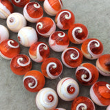 "Round/Ball Shape Orange/Beige/White Shiva Eye Shell Beads - 16"" Strand (Approx. 20 Beads) - Measuring 20mm - Natural Shell Beads"