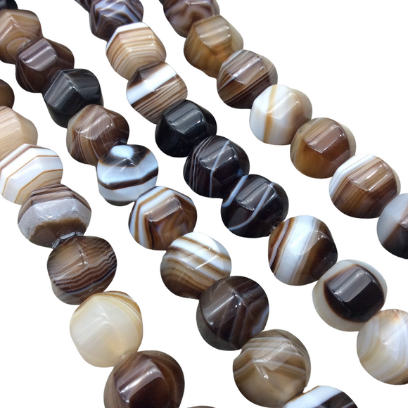 10mm x 12mm Macro-Faceted Brown/White Natural Banded Agate Lantern Shaped Beads with 1mm Holes - 15.5