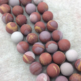 "12mm Matte Natural Noreena Jasper Round/Ball Shaped Beads with 1mm Holes - Sold by 15.25"" Strands (Approx. 34 Beads) - Quality Gemstone"