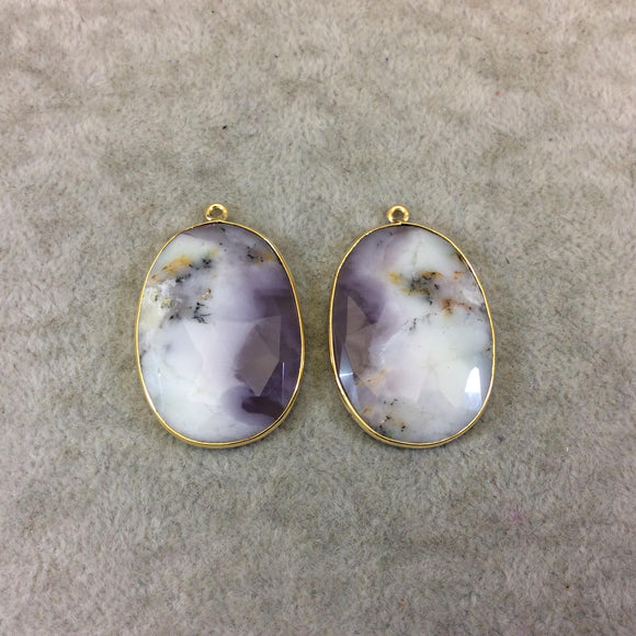 One Pair of OOAK Gold Finish Smooth Dendritic Opal Oval/Oblong Shaped Bezel Pendants
