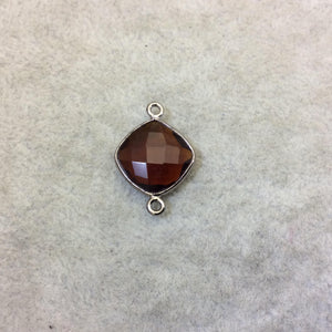 Gunmetal Finish Faceted Root Beer Quartz (Hydro)  Diamond Shape Plated Copper Bezel Connector  ~ 12mm x 12mm - Sold Individually - RANDOM