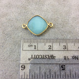 Gold Finish Faceted Chrysoprase  Diamond Shape Plated Copper Bezel Connector Component - ~ 12mm x 12mm - Sold Individually - RANDOM