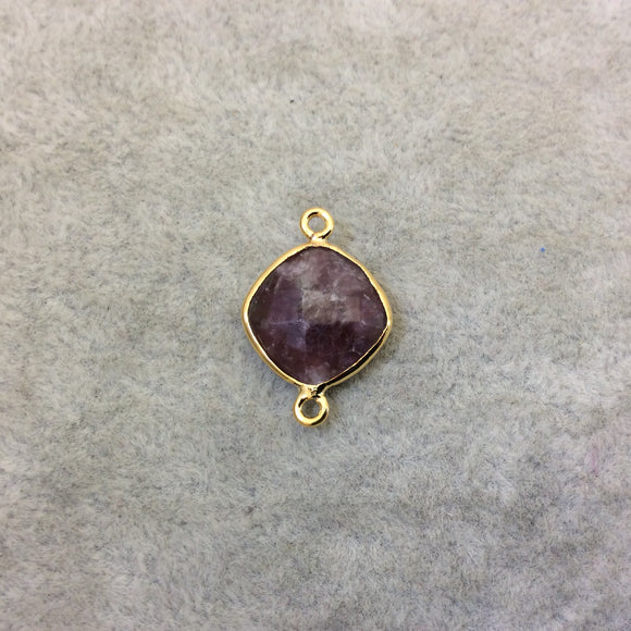 Gold Finish Faceted Lepidolite Diamond Shape Plated Copper Bezel Connector Component - ~ 12mm x 12mm - Sold Individually - RANDOM