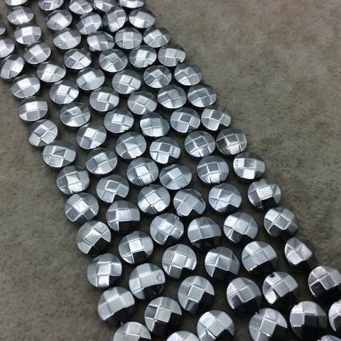 "8mm Metallic Faceted Bright Silver Hematite Coin Shaped Beads - 15"" Strand -  Approx. 48 Beads Per Strand - Semi-Precious Gemstone"