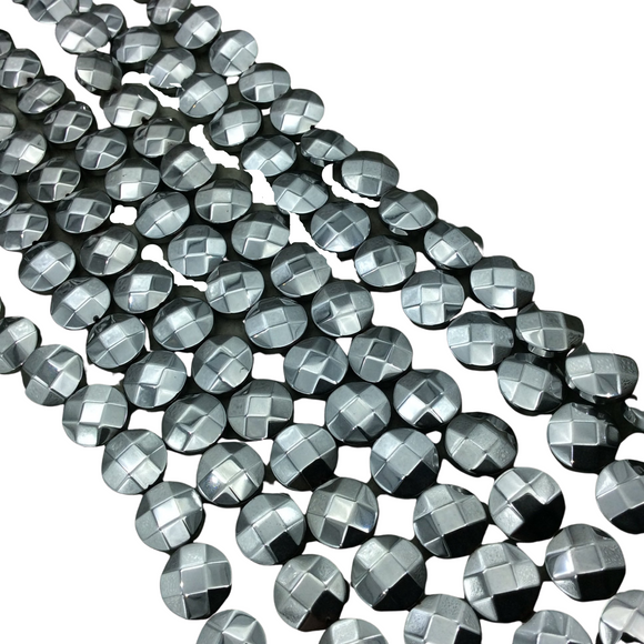 10mm Metallic Faceted Silver Hematite Coin Shaped Beads - 15