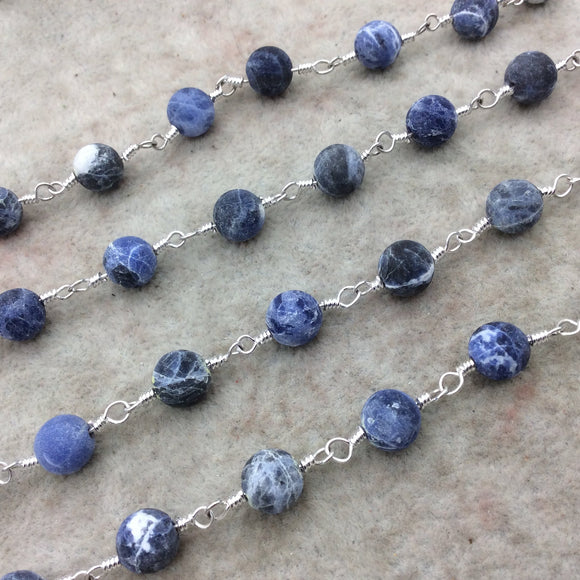 Silver Plated Copper Rosary Chain with 8mm Matte Round Shaped Blue/White Sodalite Beads - Sold by the Foot! - Natural Beaded Chain