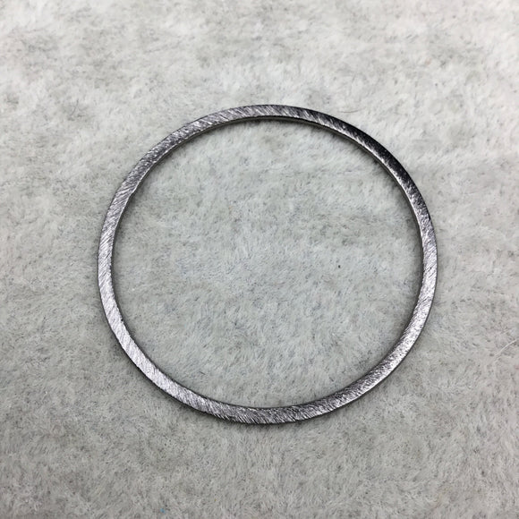 38mm Gunmetal Brushed Finish Open Circle/Ring/Hoop Shaped Plated Copper Components - Sold in Pre-Counted Bulk Packs of 10 Pieces - (014-GM)