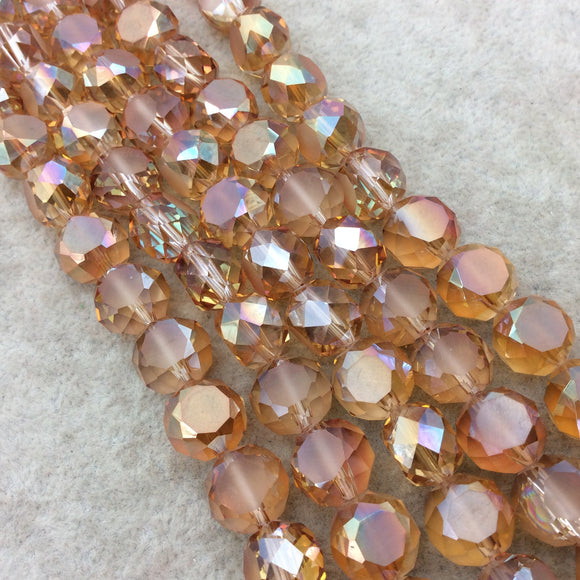 Chinese Crystal Beads | 12mm Matte Stripe Faceted Transparent AB Peach Orange Glass Flattened Round Beads