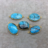 Gold Plated Large Stabilized Brazilian Turquoise Freeform Oval Shape Bezel Connector ~ 22mm -24mm Long - Sold Per Each, At Random