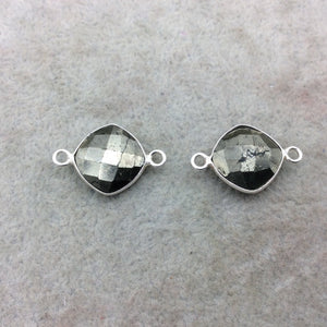 OOAK PAIR Sterling Silver Faceted Diamond Shape Natural Pyrite Bezel Connector Components - Measure 13mm x 13mm - Sold As a Set of Two