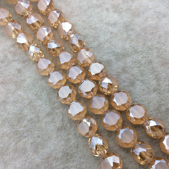 Chinese Crystal Beads | 12mm Matte And Glossy Faceted Transparent Pale Orange Glass Flattened Round Beads