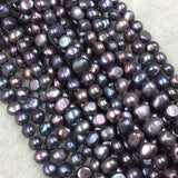 "3mm x 6-8mm Natural Black/Rainbow Freshwater Peacock Pearl Button/Potato Shape Beads - 15.5"" Strand (Approx. 66 Beads) - Sold by the Strand"