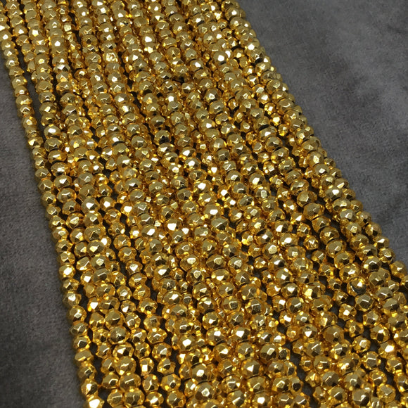 Holiday Special! 3-4mm x 3-4mm Faceted Natural Gold Plated Pyrite Rondelle Shaped Beads - 14