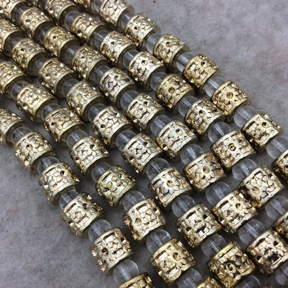 Gold Finish Daisy Pattern Tube Shape Plated Pewter Beads (43230)- 8