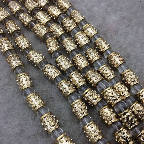 Gold Finish S Pattern Barrel Shape Plated Pewter Beads - 8