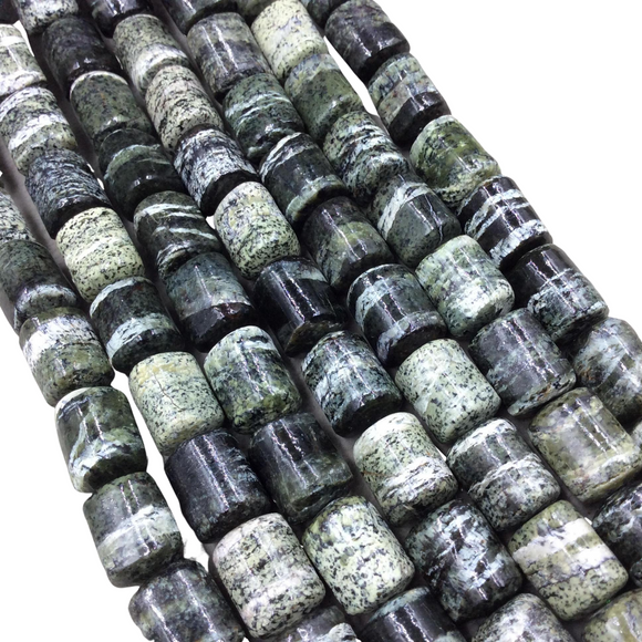 10mm x 12mm Glossy Finish Natural Serpentine Barrel/Tube Shape Beads W 1mm Holes - 15.5