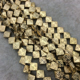 "Gold Finish Floral Pattern Diamond Shape Plated Pewter Beads (15178)- 8"" Strand (Approx. 23 Beads) - 9mm x 9mm - 1mm Hole Size"