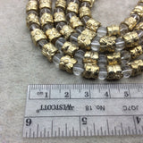 "Gold Finish Scalloped Edge Flower Pattern Tube Shape Plated Pewter Beads - 8"" Strand (Approx. 16 Beads) - 8mm x 8mm - 5mm Hole Size"