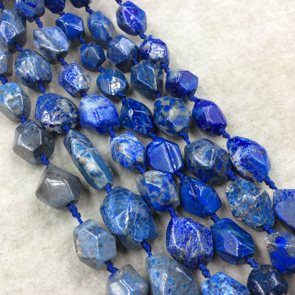 Natural Lapis Lazuli Faceted Freeform Nugget Beads - Sold by 15.5