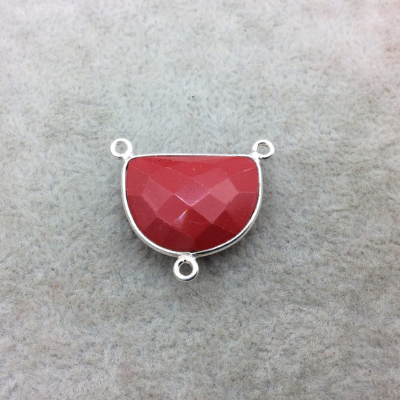Sterling Silver Faceted Half Moon Shape Opaque Red Hydro (Man-made) Chalcedony Bezel Pendant - Measuring 20mm x 16mm - Sold Individually