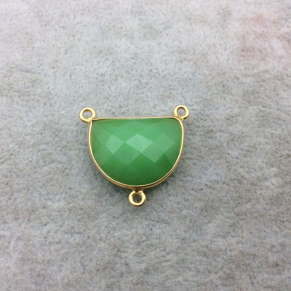 Gold Vermeil Faceted Half Moon Shaped Green Hydro (Man-made) Chalcedony 3 Ring Bezel Connector - Measuring 16mm x 20mm - Sold Individually