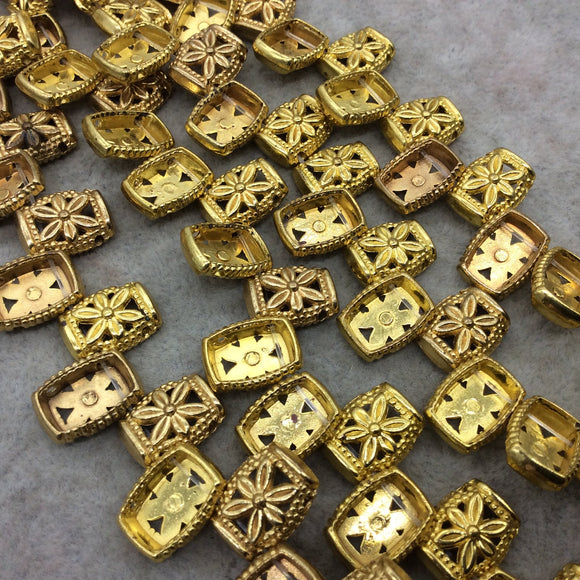Gold Finish 2 Hole Puffed Flower Pattern Rectangle Shape Plated Pewter Beads - 8