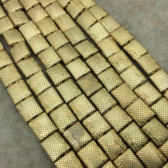 Gold Finish Dotted/Border Design Flat Rectangle Plated Pewter Beads (29281)- 7-8