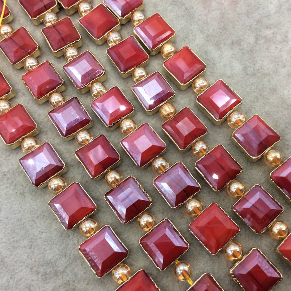 Chinese Crystal Beads | 12mm x 12mm Gold Electroplated Glossy Finish Faceted Opaque Cadmium Red Square Glass Beads
