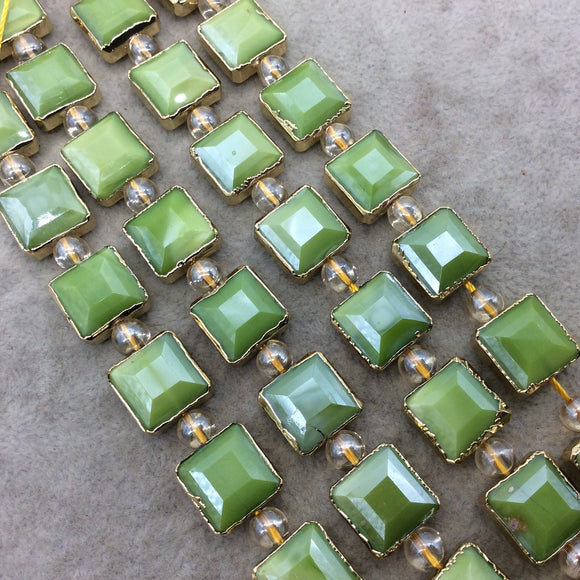 Chinese Crystal Beads | 12mm x 12mm Gold Electroplated Glossy Finish Faceted Opaque Apple Green Square Glass Beads