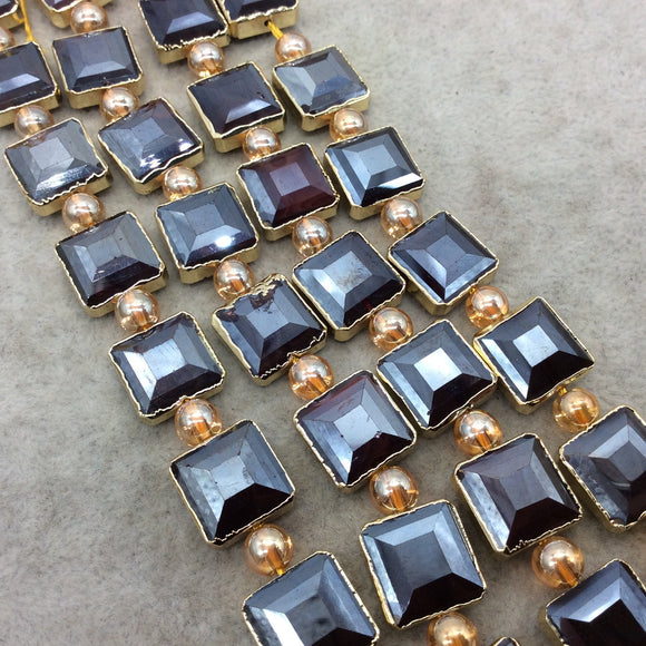Chinese Crystal Beads | 12mm x 12mm Gold Electroplated Glossy Finish Faceted Opaque Black Ruby Square Glass Beads