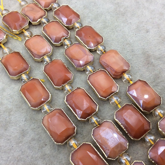 Chinese Crystal Beads | 13mm x 18mm Gold Electroplated Glossy Finish Faceted Opaque Burnt Orange Rectangle Glass Beads
