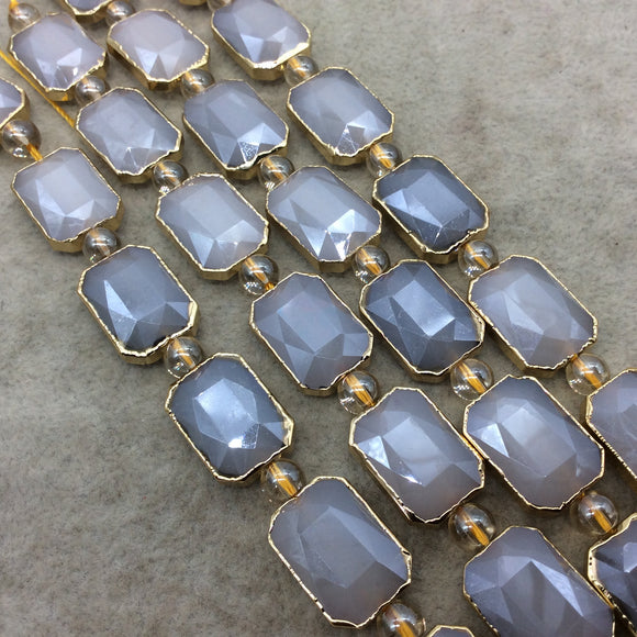 10mm x 14mm Gold Electroplated Glossy Finish Faceted Opaque Pale Peach Rectangle Glass Beads Chinese Crystal Beads