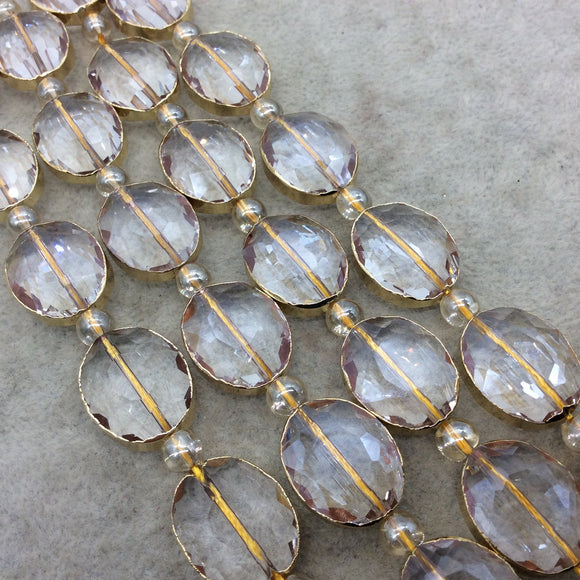 Chinese Crystal Beads | 16mm x 20mm Gold Electroplated Glossy Finish Faceted Transparent Clear Crystal Oval Glass Beads