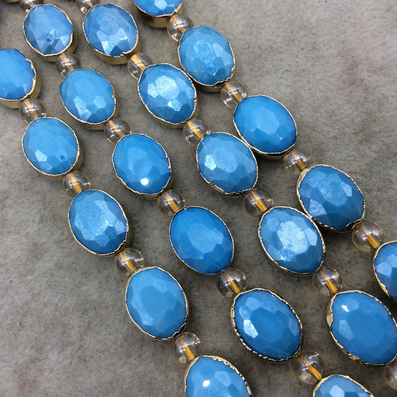 Chinese Crystal Beads | 12mm x 16mm Gold Electroplated Glossy Finish Faceted Opaque Sky Blue Crystal Oval Glass Beads