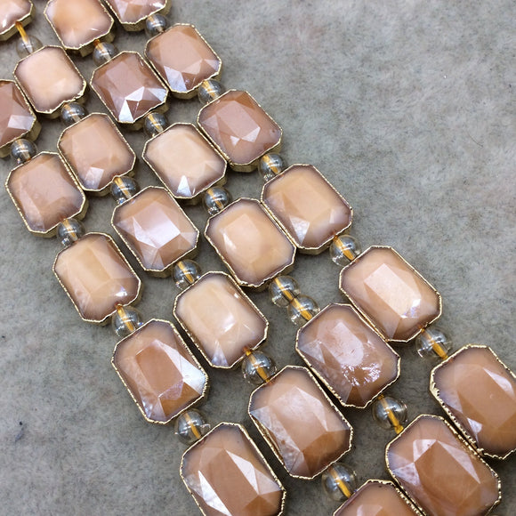 Chinese Crystal Beads | 13mm x 18mm Gold Electroplated Glossy Finish Faceted Opaque Pale Pumpkin Rectangle Glass Beads