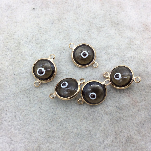 Gold Plated  Smooth Transparent Smoky Evil Eye Glass  Round/Coin Shaped Bezel Connector - Measuring 10mm x 10mm - Sold Individually