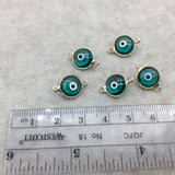Gold Plated  Smooth Transparent Green Evil Eye Glass  Round/Coin Shaped Bezel Connector - Measuring 10mm x 10mm - Sold Individually