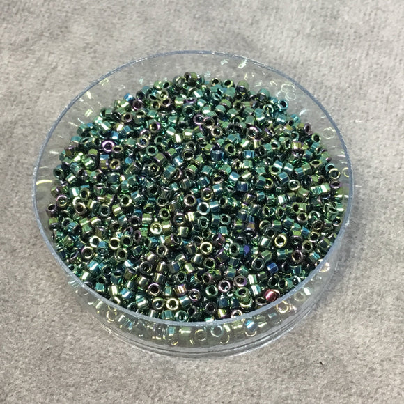 Size 11/0 Glossy Metallic Teal Iris Genuine Miyuki Delica Glass Seed Beads - Sold by 7.2 Gram Tubes (Approx. 1300 Beads per 2