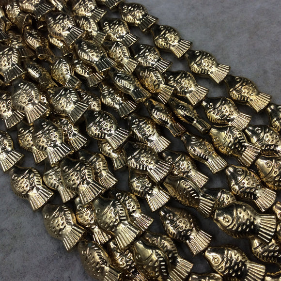 Gold Finish Patterned Fish Shape Plated Pewter Beads - 8