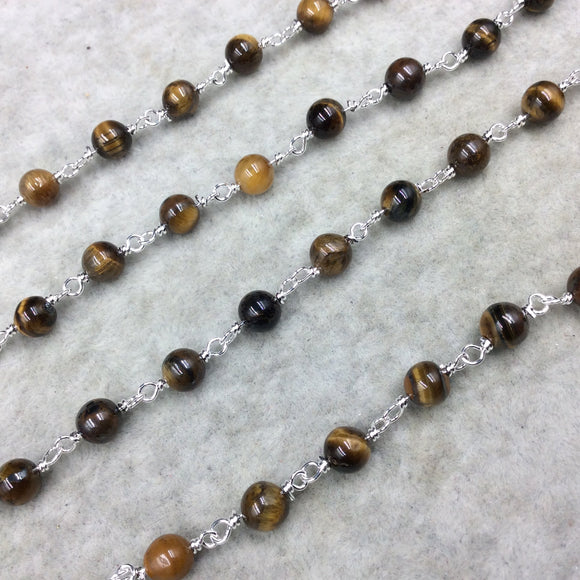 Silver Plated Copper Rosary Chain with 6mm Round Tiger Eye Beads - Sold by the Foot! (CH296-SV) - Natural Semi-Precious Beaded Chain