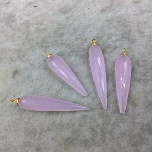 Large Gold Plated Sterling Silver Finish Faceted Spike Opaque Pink Quartz Bezel Pendant  ~ 10 x 35-40mm - Sold Per Each, At Random