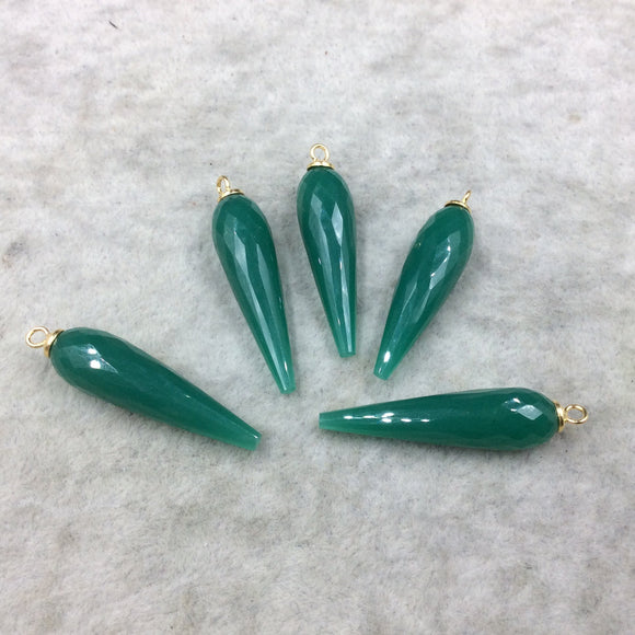 Large Gold Plated Sterling Silver Finish Faceted Spike Opaque Emerald Green Quartz Pendant  ~ 10 x 35-40mm - Sold Per Each, At Random
