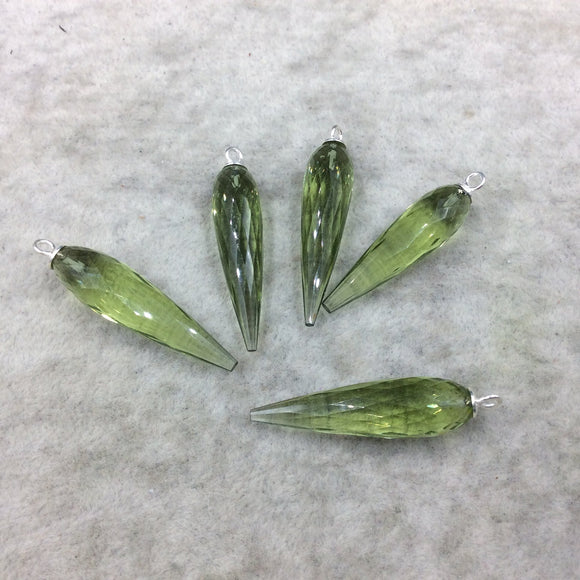 Large Sterling Silver Finish Faceted Spike Transparent Light Green Quartz Component  10 x 35-40mm - Sold Per Each, Selected at Random