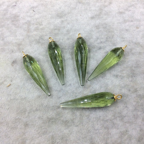 Large Gold Plated Sterling Silver Finish Faceted Spike Transparent Light Green Quartz Pendant  ~ 10 x 35-40mm - Sold Per Each, At Random