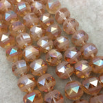 "14mm Matte Stripe Glossy Faceted Trans. AB Peach/Orange Glass Crystal Round Beads - 12.5"" Strands (Approx. 26 Beads) - (CC14-095)"