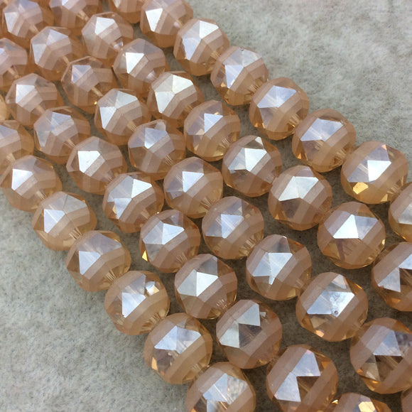 Chinese Crystal Beads | 14mm Matte Stripe Glossy Faceted Transparent AB Pale Orange Glass Round Beads
