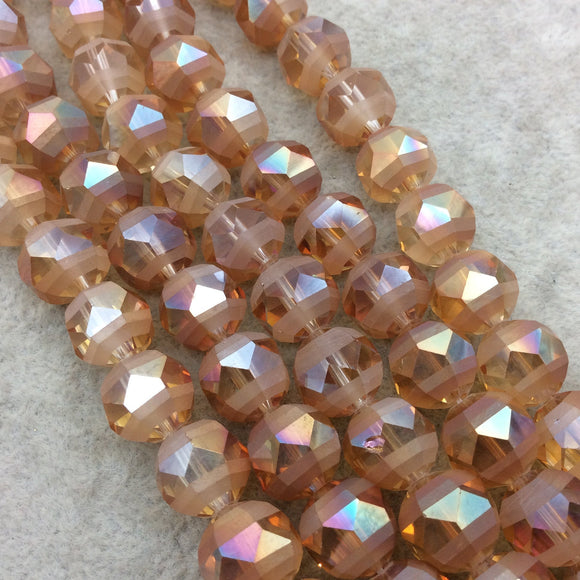 Chinese Crystal Beads | 12mm Matte Stripe Faceted Transparent Peach Orange Glass Crystal Round Beads